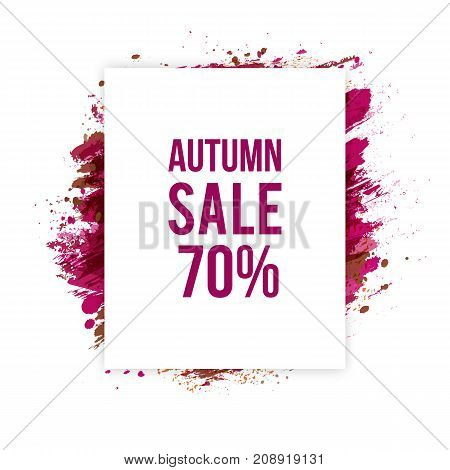 Vector holiday background. Autumn sale banner. Artistic red frame. Discount season.