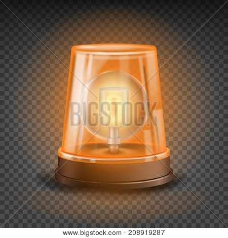 Orange Flasher Siren Vector. 3D Realistic Object. Light Effect. Rotation Beacon. Emergency Flashing Siren. Isolated On Transparent Background