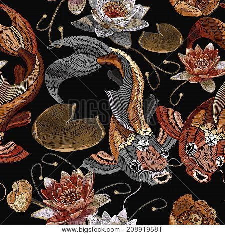 Embroidery vintage koi fish and water lily seamless pattern japanese pattern. Classical embroidery koi carp pink and white lotuses and water lilies vintage template clothes t-shirt design