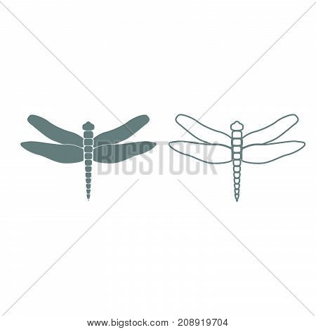 Dragonfly Grey Set Icon .