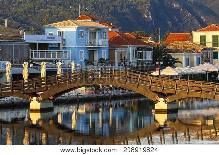 NYDRI, GREECE - OCTOBER 2, 2017: Foot bridge in the harbour of Lefkada town, Greece on October 2, 2017.