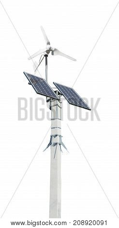 Wind Turbine With Solar Panels On Pillar