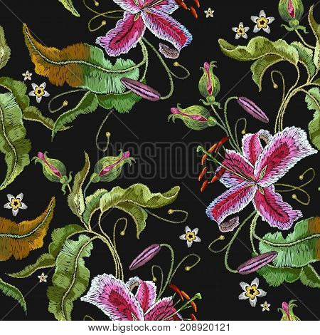 Embroidery orchid exotic tropical flowers. Beautiful classical embroidery summer orchids flowers. Template for clothes embroideries t-shirt design