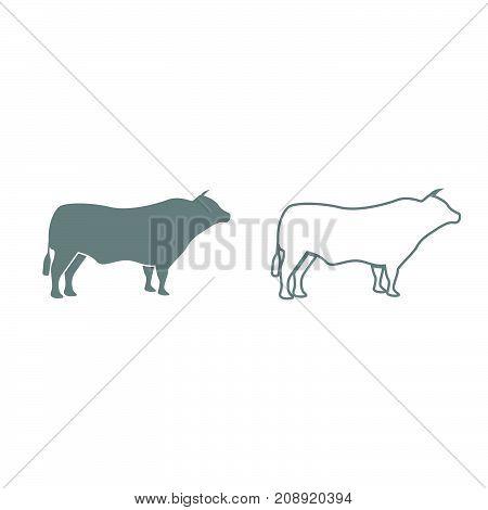 Bull Grey Set Icon .