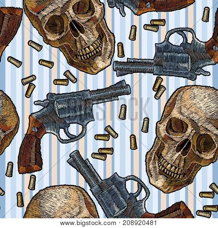 Embroidery skulls and guns seamless pattern blue stripes. Wild west embroidery old revolvers and human skulls gangster gothic background