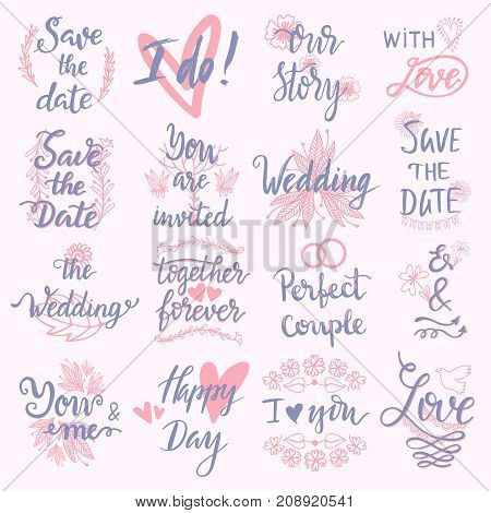 Wedding Day marriage phrases text lettering invitation calligraphy handdrawn greeting love logo romantic vector illustration.