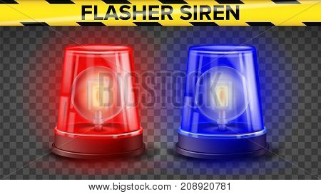 Red And Blue Flasher Siren Vector. 3D Realistic Object. Light Effect. Rotation Beacon. Police Cars Ambulance. Emergency Flashing Siren. Isolated On Transparent Background