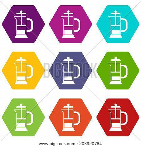 French press coffee maker icon set many color hexahedron isolated on white vector illustration