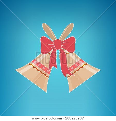 Holiday Jingle Bells with Ornament Decorated with a Pink Bow on a Blue Background Christmas Decoration
