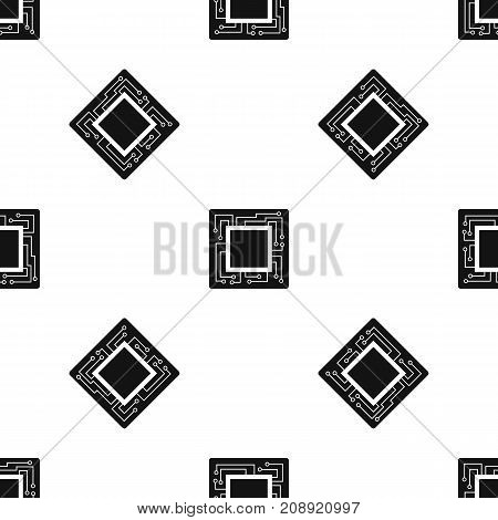 Microchip pattern repeat seamless in black color for any design. Vector geometric illustration