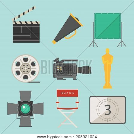 Cinema movie making tv show tools equipment symbols icons vector set illustration. Isolated entertainment design camera sign. Director cinematography hollywood multimedia equipment.