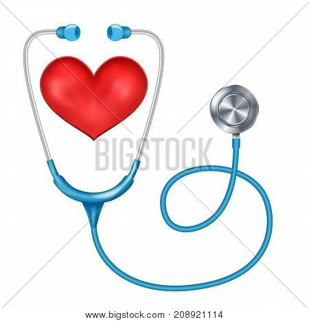 Medical Phonendoscope Isolated Vector. Medical Diagnosis. Red Heart. Health are Concept. Illustration