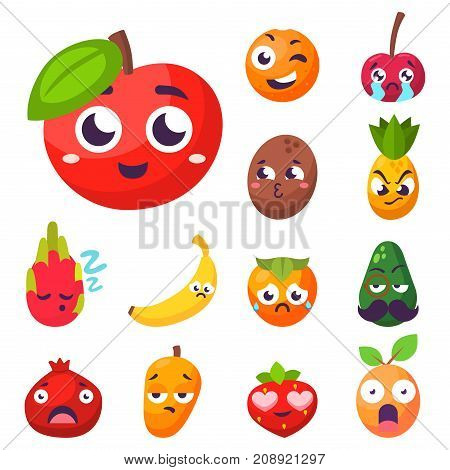 Cartoon emotions fruit characters natural food vector. Smile food nature happy expression. Vitamin healthy juicy mascot tasty garden design.