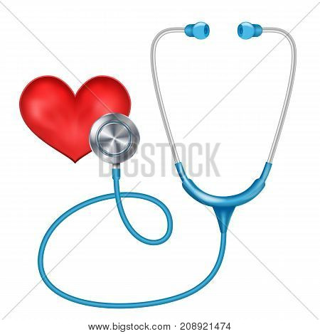 Realistic Stethoscope Isolated Vector. Medical Equipment. Red Heart. Illustration