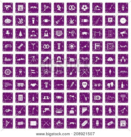100 meeting icons set in grunge style purple color isolated on white background vector illustration