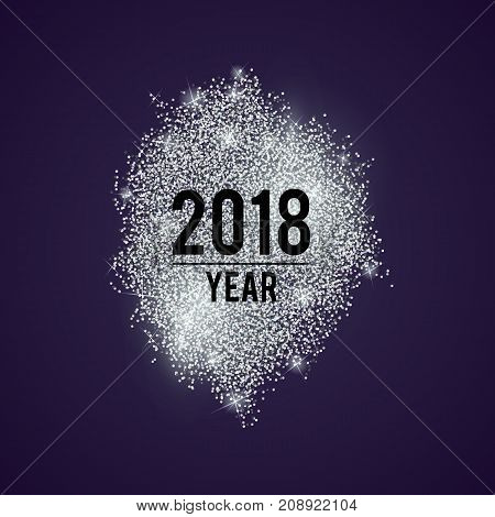Abstract vector stippling background. Silver dotted glitter sale. New Year frame.