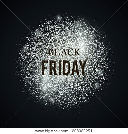 Black friday silver template. Vector shining background. Glitter dotted label.