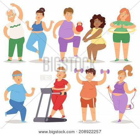 Fat people doing exercise training gym gymnasium sport fatty character workout vector illustration. Diet figure obesity man and woman thick heavy activity.