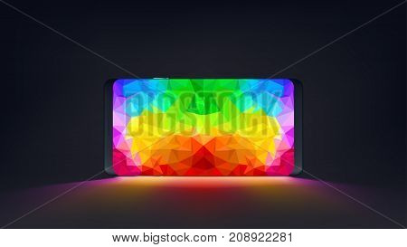 illustration of lying smartphone on dark backgroudn with bright colorful screen