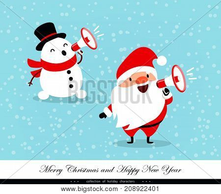 Santa Claus and Snowman shout in a megaphone. Emotional Christmas and New Year's characters. Humorous collection. Good for congratulation card banner flayer leaflet poster. Vector illustration