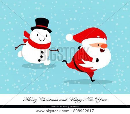 Santa Claus and Snowman run fast. Emotional Christmas and New Year's characters. Humorous xmas collection. Good for congratulation card banner flayer leaflet poster. Vector illustration