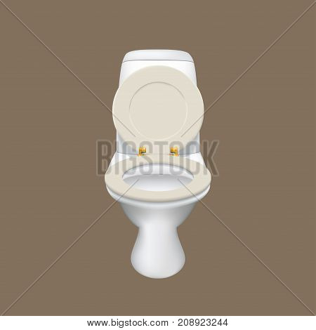 illustration of realistic white color toilet isolated on dark backgound