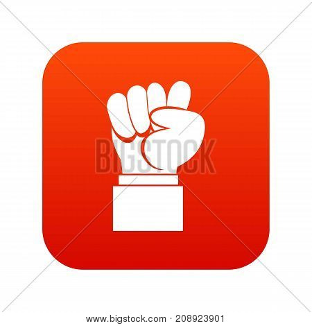 Raised up clenched male fist icon digital red for any design isolated on white vector illustration