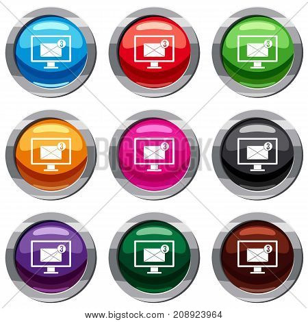 Monitor screen with email sign set icon isolated on white. 9 icon collection vector illustration