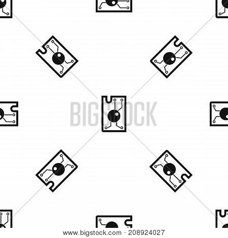 Processor chip pattern repeat seamless in black color for any design. Vector geometric illustration