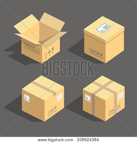 isometric cardboard boxes packaging icons set isolated illustration