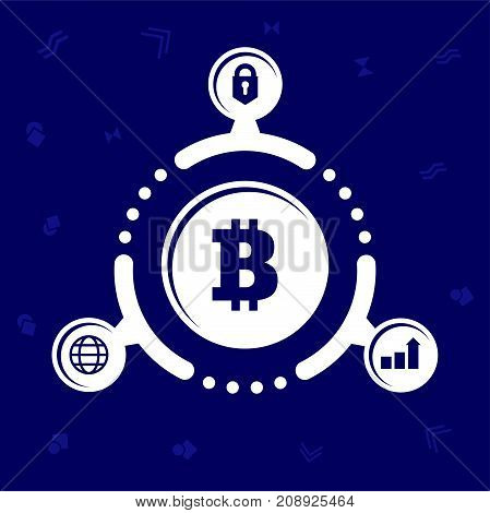 The Advantages Of Cryptocurrency. Illustration In Flat Style. On Blue Background.