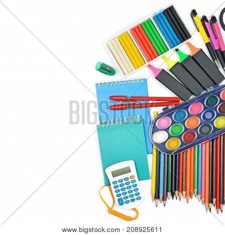 Collection of school supplies isolated on pure white background. Free space for text. Top view. Free space for text.