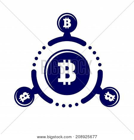 How Work Cryptocurrency Network Circular Flat Scheme Illustration. Bitcoin Sign On A White Backgroun