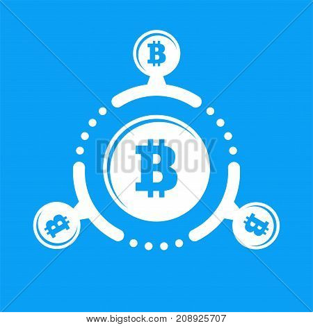 How Work Cryptocurrency Network Circular Flat Scheme Illustration. Bitcoin Sign On A Blue Background