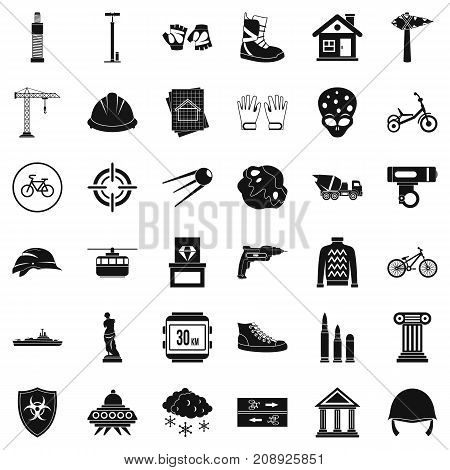 Helmet icons set. Simple style of 36 helmet vector icons for web isolated on white background