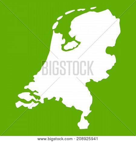 Holland map icon white isolated on green background. Vector illustration