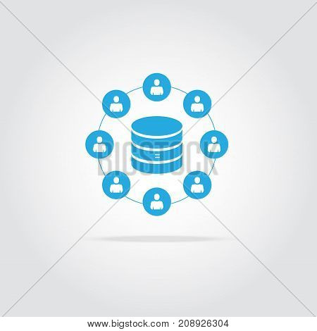 Customer database icon connecting people in one database