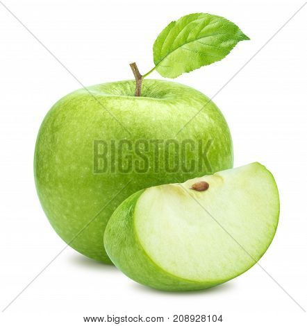 One green apple and quarter piece isolated on white background with clipping path