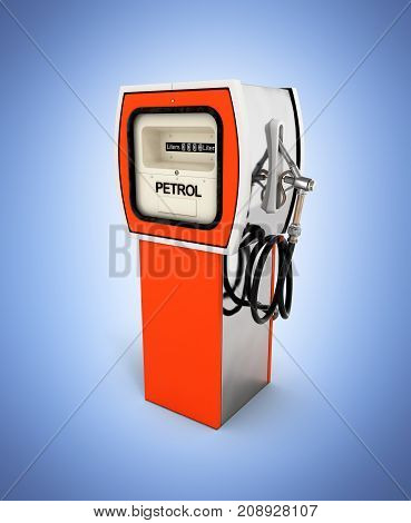 Retro Fuel Pump In Orange Isolated On Blue Gradient Background 3D