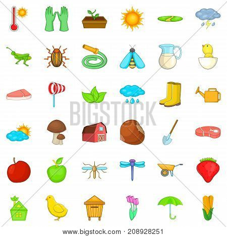 Crop icons set. Cartoon style of 36 crop vector icons for web isolated on white background