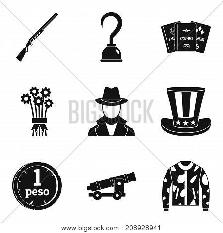 Aiming shooting icons set. Simple set of 9 aiming shooting vector icons for web isolated on white background