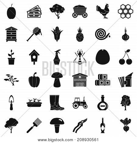 Hard farming icons set. Simple style of 36 hard farming vector icons for web isolated on white background