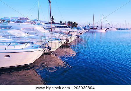 sailboats at Alimos harbor Attica Greece - blue hour landscape