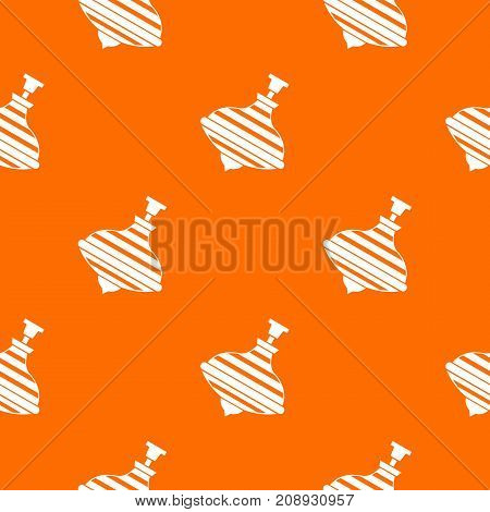Carousel humming top pattern repeat seamless in orange color for any design. Vector geometric illustration