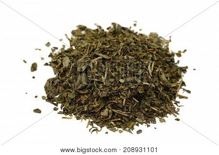 bunch of green tea on a white background