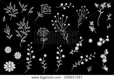 Embroidery flower field herb collection. Fashion print patch design floral DIY set. Stitched texture daisy leaves branches vector illustration art