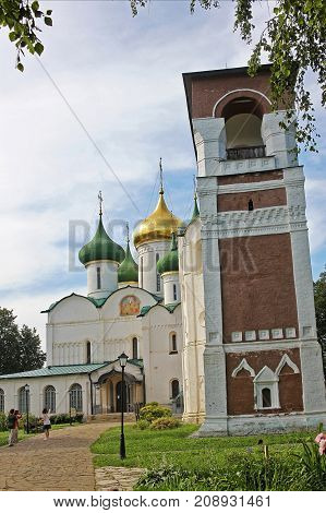 Suzdal Russia - 16 July 2017: Transfiguration Cathedral and bell tower is located in the Saviour Monastery of St. Euthymius. Monument of Russian architecture of the end of XVI century.