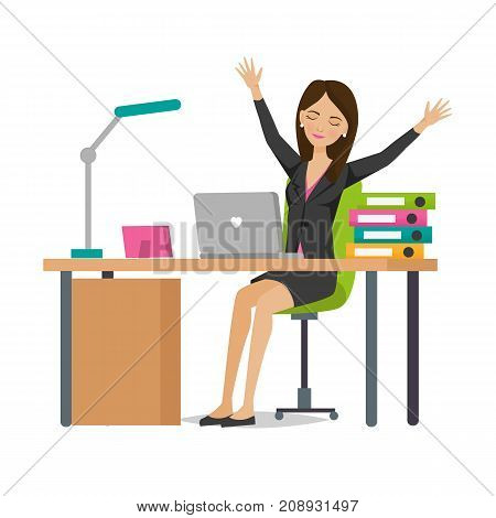 Businesswoman working cartoon character person in office work situations. Girl of an office worker rejoices in success, rests behind desk on office table, among working subjects. Vector illustration.