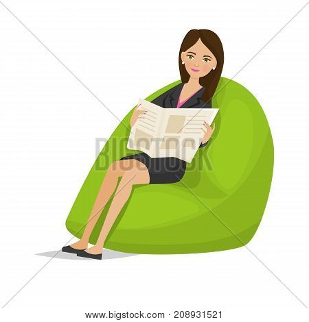 Businesswoman working cartoon character person in office work situations. Woman specialist in office clothes, rests, relaxes, with newspaper in hands on special armchair. Vector illustration isolated.