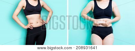 woman with fat and slim figure on the green background
